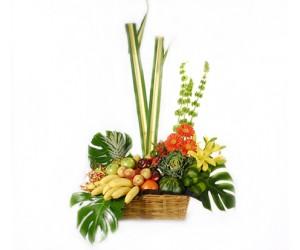 Arreglo Frutal & floral en canasta