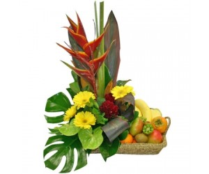 Arreglo Frutal & Floral: Caribbean Sunshine