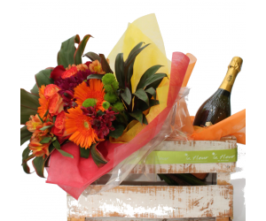 Bouquet Orange Shade con Vino