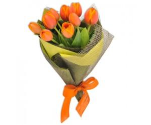 Ramo de 10 Tulipanes Naranjas