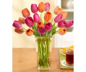 Ramo de 20 Tulipanes Naranjas & Rosas